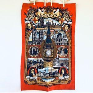 Unused Vintage Tea Towel London Landmarks & Historic Figures Souvenir